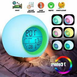 7 Colors Changing Light Digital Calendar Thermometer Alarm C