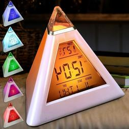 7 Colors Colorful Pyramid LCD <font><b>Alarm</b></font> <fon