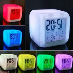 7 Colors LED Change Digital Glowing Alarm Clock Night Light