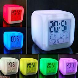 7 Colors LED Change Digital Glowing Alarm Clock Night Light