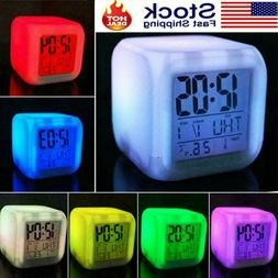 7 Colour LED Change Alarm Clock Digital Glowing Night Light