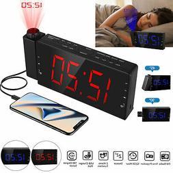 7''Digital Alarm Clock Projection LED Dual Alarms Snooze AM