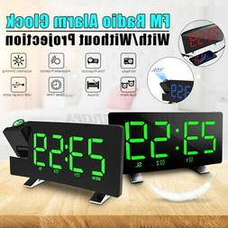 7'' Digital Alarm Clock Projection LED Dual Alarm FM Radio S