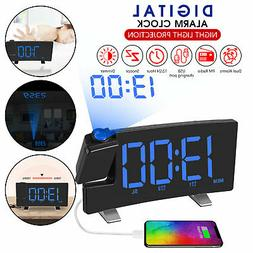 7'' Digital Alarm Clock Projection LED Dual Alarm Radio Snoo