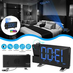 """7"""" LCD Digital Alarm Clock Projection LED Dual Alarms SNOOZE"""