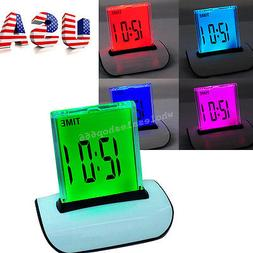 7 LED Color Changing Digital LCD Thermometer Calendar Alarm
