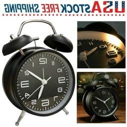 Black Vintage Twin Bell Alarm Clock Extra Loud Battery Analo