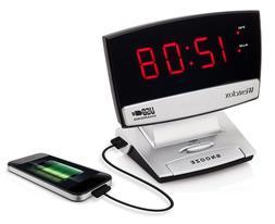 Westclox 71014 0.9 in. Led Plasma Screen Alarm Clock USB Cha