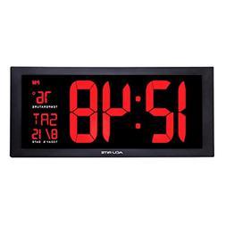 AcuRite 75100C 18-Inch Large Led Clock with Indoor Temperatu