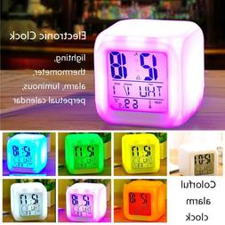 7Color Changing Melody Alarm Clock LED Digital Thermometer F