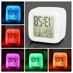 7Color LED Change Digital Glowing Alarm Clock Night Light fo