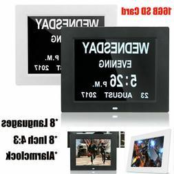 "8"" Large Digital Calendar Electronic LED Alarm Clock with La"