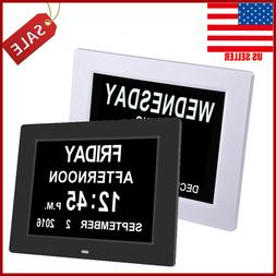 "8"" Large Digital LED Day Clock 6-Alarm Time Week Date Calend"
