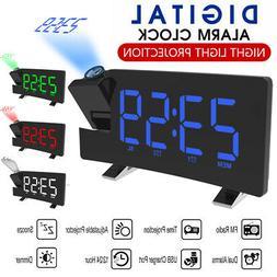 8'' LCD LED Projection Digital Snooze Alarm Clock Dual Alarm