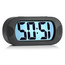 Easy to Set, Plumeet Large Digital LCD Travel Alarm Clock wi