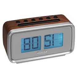 Jensen JCR-232 AM/FM Dual Alarm Clock with Digital Retro Fli