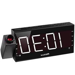 "Mesqool 7"" Projection Alarm Clock for Bedrooms, Ceiling, Kit"