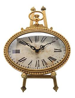 NIKKY HOME Vintage Pewter Oval Standing Table Clock, 6.5 by