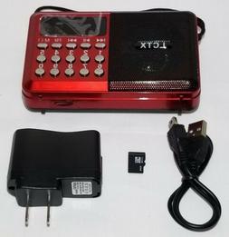 Portable FM Clock Radio MP3 Player w/Micro SD Reader w/ 5v W