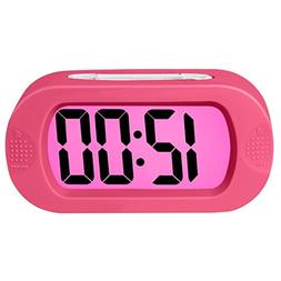 ZHPUAT Colorful Light Digital Alarm Clock with Snooze, Simpl