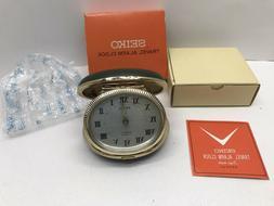 Seiko ABR-237 2 Jewels Repeat Wind Up Travel Alarm Clock Fol