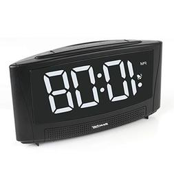 "Reacher Digital Alarm Clock with USB Charger Port 6"" Lar"