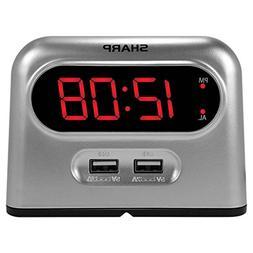 Sharp Digital Alarm Clock with 2 X 2amp USB Charger Ports