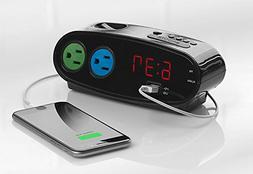 Sharp Digital LED Alarm Clock 2 Power Outlet USB Charging Po