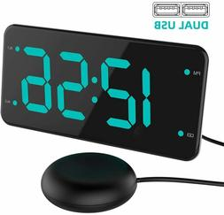 Digital Alarm Clock with Bed Shaker, Extra Loud Alarm, 7-inc