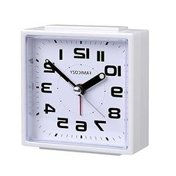 FAMICOZY Small Alarm Clock,Quiet Non Ticking with Snooze and