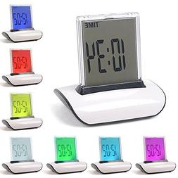 Digital Alarm Clock, 7 LED Color Changing Digital LCD Thermo