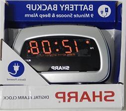 Sharp LED Alarm Clock, Silver