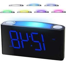 "Mesqool Digital Alarm Clock - 7 Colored Night Light, 7"" La"