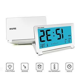 KLAREN Alarm Clock, Travel Clock LCD Mini Digital Desk Foldi