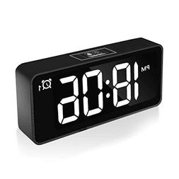"CHEREEKI Digital Alarm Clock, 4.6"" LED Display Clocks with D"