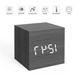MiCar Digital Alarm Clock, Wood LED Light Mini Modern Cube D