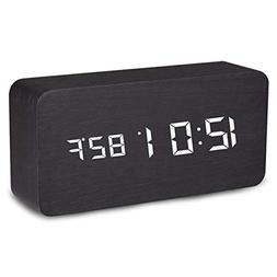 Digital Alarm Clock, Temperature Date LED Display Wood Grain