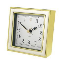 Natico 10-45888W Alarm Clock, White Enamel And Gold