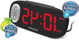Digital Alarm Clock with 2 USB Ports