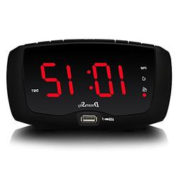DreamSky Digital Alarm Clock Radio with Dual USB Ports for P