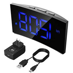 PICTEK Digital Alarm Clock, 5'' Dimmable Curved LED Screen T