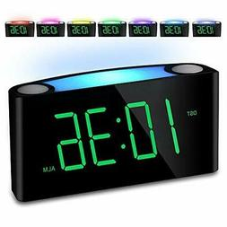 "Alarm Clock, Large 7"" Digital LED Display, 7 Colored Night L"