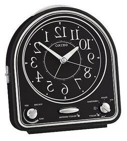 Seiko Alarm Clock, Black Plastic, 14.3 x 12.9 x 7 cm. Shippi