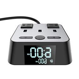 Yostyle Alarm Clock Charger w/ 3 USB Ports 2 Power Sockets O