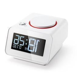 Homtime Alarm Clock for Bedroom with Dual USB Charger Ports