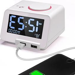 Digital Alarm Clock Charger with Dual USB Charging Ports,Ind