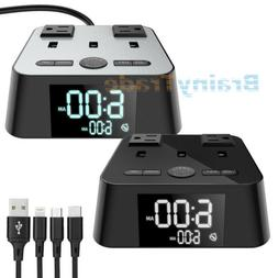 Alarm Clock Charging Station 3 USB Charger Ports 2 AC Adapte