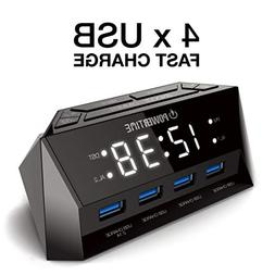 BEARE Alarm Clock Charging Station - w/Quad USB Port for iPh