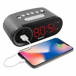 DIGITAL ALARM CLOCK WITH USB CHARGE PORT
