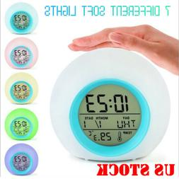 Alarm Clock Digital LED Thermometer Changing Light Night Glo